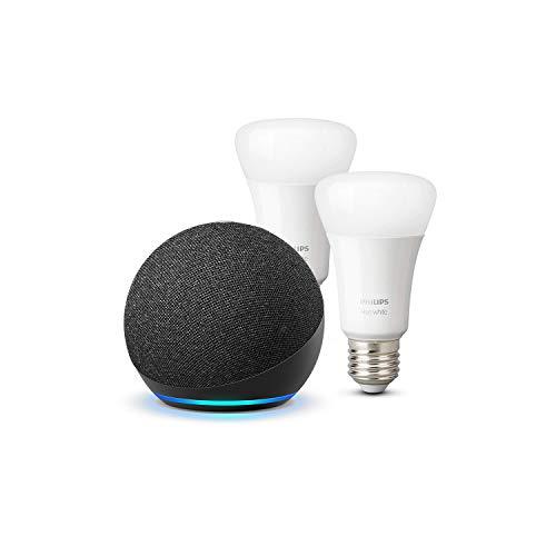 Der neue Echo Dot (4. Generation), Anthrazit + Philips Hue White LED-Lampe Doppelpack (E27), kompatibel mit Bluetooth und Zigbee (kein Hub erforderlich)