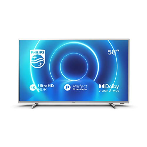 Philips 58PUS7555/12 Fernseher 146 cm (58 Zoll) LED TV (4K UHD, P5 Perfect Picture Engine, Dolby Vision, Dolby Atmos, HDR 10+, Saphi Smart TV, HDMI, USB) Mittelsilber [Modelljahr 2020]