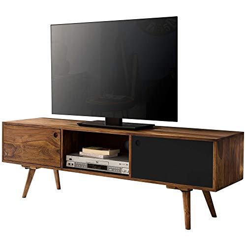 FineBuy TV Lowboard 140 cm Massiv-Holz Sheesham Landhaus 2 Türen & Fach | HiFi Regal braun/schwarz 4 Füße | Fernseher Kommode Vintage