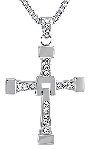 Hanessa Edelstahl Herren-Schmuck mit Gravur auf der Rückseite Hals-kette Kreuz Massiv in Silber Anhänger mit Strass-steinen 58-64 cm. Geschenk für den Mann