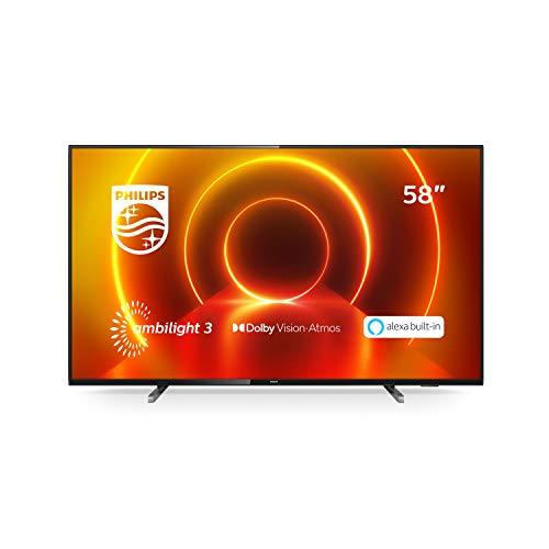 Philips 58PUS7805/12 58-Zoll Fernseher mit Ambilight und Sprachsteuerung (4K UHD LED TV, HDR10+, Dolby Vision, Dolby Atmos, Saphi Smart TV) - Rahmen Grau, Standfuß Silber [Modelljahr 2020]