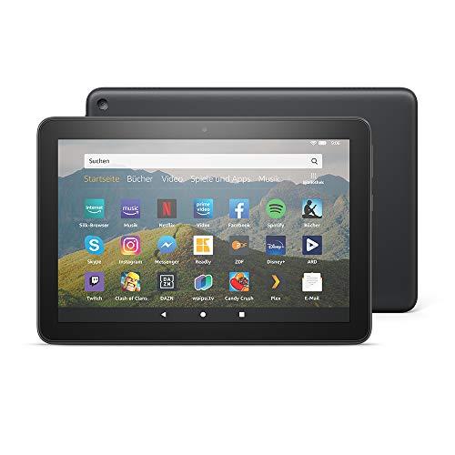 Fire HD 8-Tablet, 8-Zoll-HD-Display, 32 GB, Schwarz, Mit Werbung, für Unterhaltung unterwegs