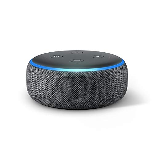 Echo Dot (3.Gen., vorherige Generation), Anthrazit Stoff, internationale Version, EU-Netzteil (Dieses Produkt ist nicht nach Deutschland lieferbar)