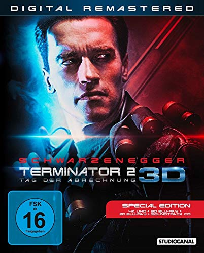 Terminator 2 - Exklusiv Limited 4K UHD + 3D Blu-ray + 2D + Soundtrack CD - Digital Remastered im Schuber mit Kino, Special & Extended Version - Blu-ray