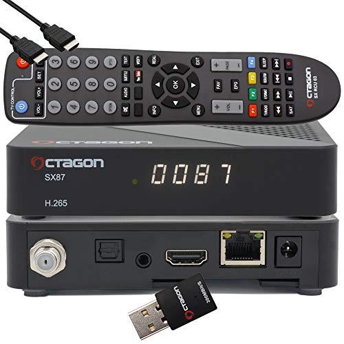 OCTAGON SX87 HD H.265 S2+IP HEVC Set-Top Box - Internet Smart TV Receiver, Kartenleser, Mediaplayer, Mediathek, DLNA, YouTube, Web-Radio, iOS & Android App, USB PVR, 300Mbits WiFi + EasyMouse HDMI