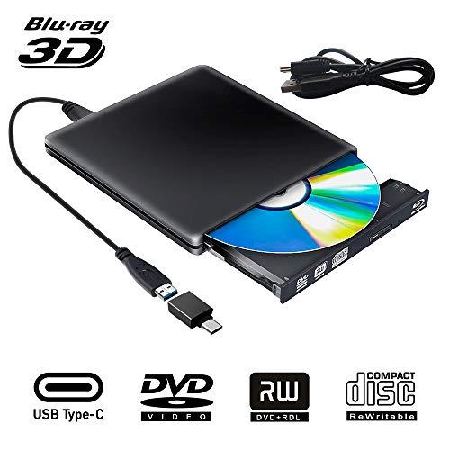Externe Blu Ray CD DVD Laufwerk 3D, Tragbar USB 3.0 USB Type C Bluray CD DVD RW Rom für PC MacBook iMac Mac OS Windows 7/8/10/Vista