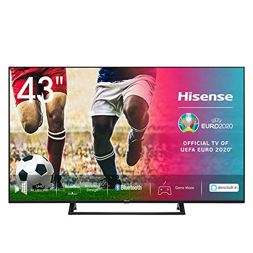 Hisense 43AE7200F 108 cm (43 Zoll) Fernseher (4K Ultra HD, HDR, Triple Tuner DVB-C/S/S2/T/T2, Smart TV, Mittelstandfuß, Frameless, Bluetooth, Alexa)