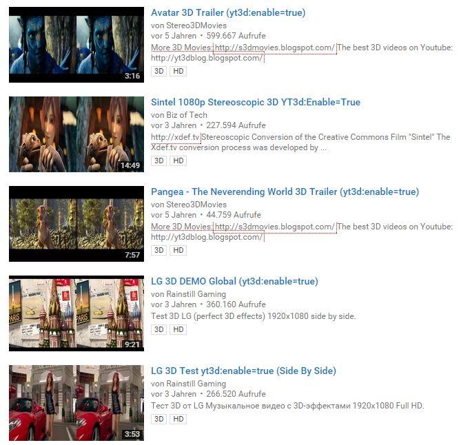 Echte 3D Videos unter Youtube (Screenshot: Youtube)