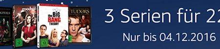 Amazon: 3 Serien auf DVD für 22 EUR